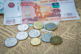 Russian roubles banknotes and euro and dollars coins — Stock Photo