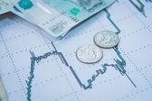 Ruble exchange rate on international stock exchanges. — Stock Photo