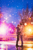 Snow lovers kiss city — Стоковое фото