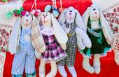 Needlework, original toys in the form of amusing dolls — Stock Photo