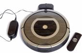 Robotics - the automated robot the vacuum cleaner on a white bac — Stock Photo