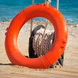 Lifebuoy at water on the coast of a sea beach. — Stock Photo #53717545