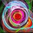 Visualization of fractal vortex of colored lines. — Stock Photo #64773063
