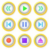 Media player buttons collection. — Stock Vector