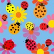 Seamless ladybugs and flowers. — Stock Vector #60248505