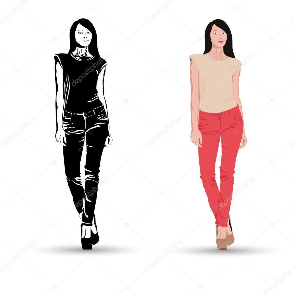Женщина в брюках рисунок