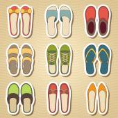 Set of nine woman shoes icon — Stock Vector