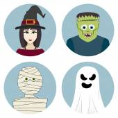 Halloween character set. Witch, mummy, ghost, Frankensteins monster — Stock Vector
