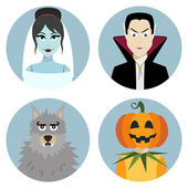 Halloween character set. Vampire, werewolf, dead bride, Jack-o-Lantern — Stock Vector