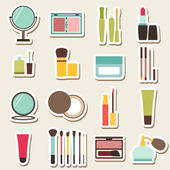 Set of beauty and cosmetics colorful icons — Stock Vector