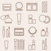 Set of silhouette beauty and cosmetics icons — Stock Vector