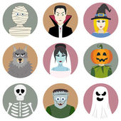 Set of nine Halloween characters — Stock Vector