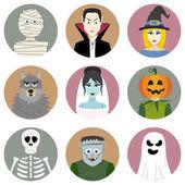 Set of nine Halloween characters — Stock Vector