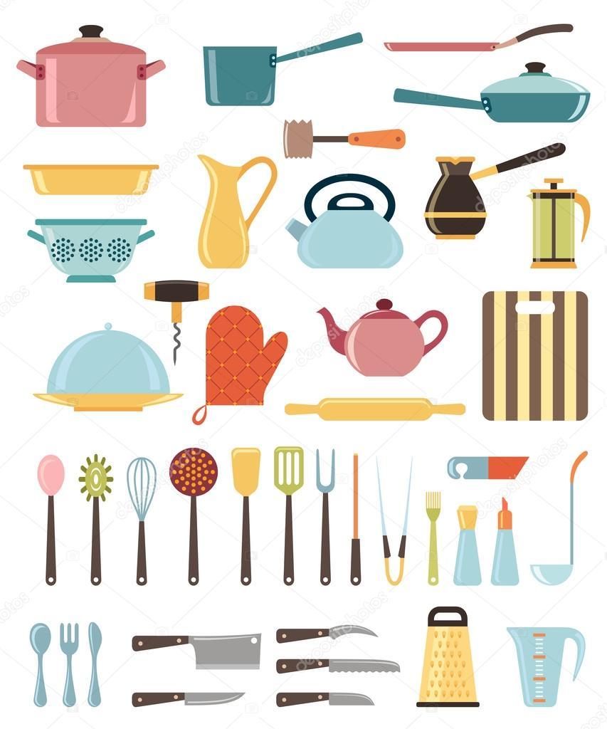 Conjunto de utens lios de cozinha e cole o de cones de for Objetos para cocinar