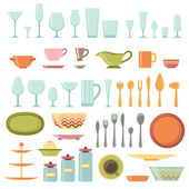 Kitchen utensils and cookware icons set — Stock Vector