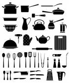 Set of kitchen utensil and collection of cookware icons — Stock Vector