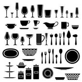 Set of silhouettes of cookware and kitchen accessories — Stock Vector