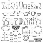 Silhouette of cookware and kitchen accessories — Stock Vector