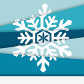 Creative New year card. Asymmetric snowflake formed from paper — Stock Vector