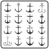 Set of sixteen hand drawn anchors — Stockvektor