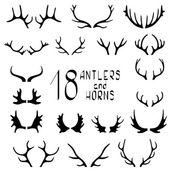 Set of 18 deer antlers and horns — Stock Vector