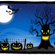 Creepy tree at a cemetery on halloween — Stock Vector #53643647