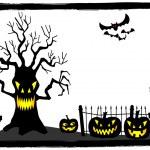 Creepy tree at a cemetery on halloween — Stock Vector #53962929
