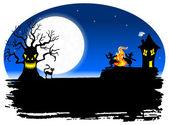 Жуткий Хэллоуин фон — Cтоковый вектор