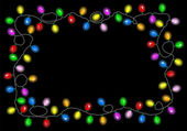 Christmas lights on dark background with space for text — Stock Vector