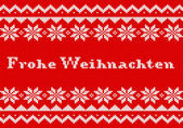 Red and white german Christmas knit greeting card — Stock Vector