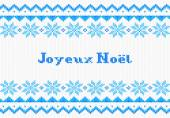 Blue and white french Christmas knit greeting card — Stock Vector