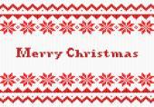 Rote und weiße weihnachten stricken grußkarte — Stockvektor
