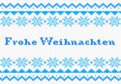 Blue and white german Christmas knit greeting card — Stock Vector