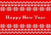 Red and white New Year knit greeting card — Stock Vector