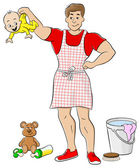 Househusband is busy doing housework — Stock Vector