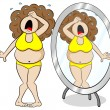 Overweight woman cries in front of a mirror — Stock Vector #62152853
