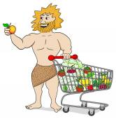 Caveman with shopping cart filled with fruit and vegetables — Stock Vector