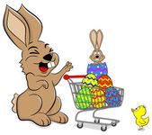 Easter bunny with shopping cart — Stockvektor