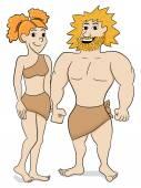 Prehistoric cave dweller couple — Stock Vector