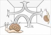 Bouncing snail — Stock Vector