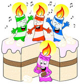 Candles on cake celebrate birthday — Cтоковый вектор