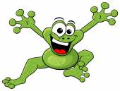 Jumping cartoon frog isolated on white — Stock Vector
