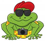 Frog as a tourist with camera and sunglasses — Stock Vector