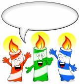 Cartoon birthday candles congratulate with speech bubble — Stock Vector