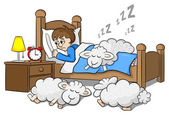Sheep fall asleep on the bed of a sleepless man — Stock Vector