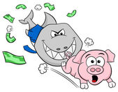 Smiling financial shark is hunting a frightened piggy bank — Stock Vector