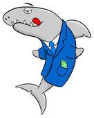 Smiling cartoon financial shark — Stock Vector
