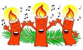 Cartoon Christmas candles singing a Christmas carol — Stock Vector