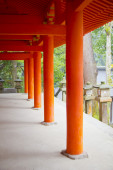 Red wood columns — Stock Photo