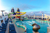 NCL Epic cruise ship main deck and pools — Stock Photo